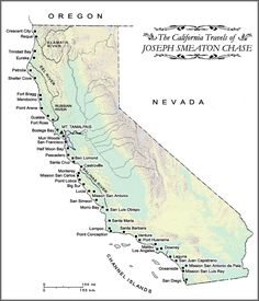 Map Of California Coast Trails Map Of J Smeaton Chase S California - Map of oregon and california coast