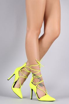 Pointy Toe Lace Up Dorsay Stiletto Pump – Style Lavish
