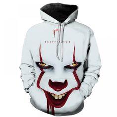 Horror Movie IT Clown Print Hoodie Funny Pullover joker sweatshirt Hip Hop Sudadera hombre coat winter jacket men harajuku harajuku Printed Sweatshirts, Mens Sweatshirts, Men's Hoodies, Estilo Hip Hop, Newest Horror Movies, Look Fashion, Man Fashion, Streetwear, Men Casual