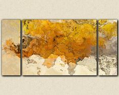 "woah! -- Large triptych abstract expressionism stretched canvas print, 30x60 in golden yellow, from abstract painting ""Early This Morning"""