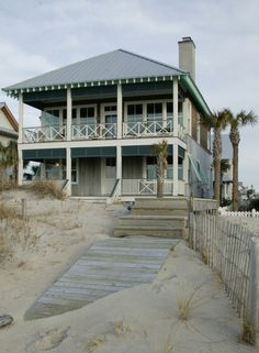 Lake House Ideas Summer Beach Cottage, large front porch, two-story porch, island home, vacation hom Beach Cottage Style, Coastal Cottage, Coastal Homes, Beach House Decor, Coastal Living, Lakeside Cottage, Country Living, Beach Homes, Coastal Style