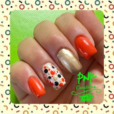 """Edding diligent dark orange"""", essence blanc"""", essence good as gold"""" and moyou black"""" with dotted nail design My Nails, Usb Flash Drive, Nailart, Nail Designs, Orange, Dark, Gold, Nail Desighns, Nail Art Designs"""