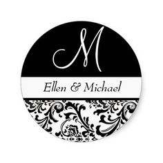 Damask Wedding Monogram Black and White Initial Stickers