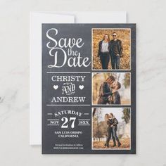 Chalkboard 3 Photo Rustic Save The Date - Rustic save the date card with a chalkboard background and string lights that feature 3 photo images of your choice.