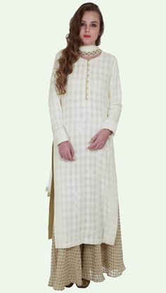 Eid 2017 Collection: Ivory Chikankari Pure Georgette Kurta With Banarasi Palazzo Suit