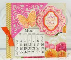 March 2013 JustRite Papercraft release, Winged Vintage Labels 2 & 3, 6-inch calendar designed by Sharon Harnist.