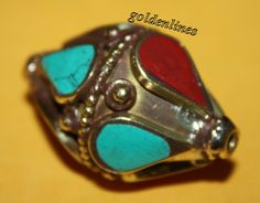 Tibetan Nepalese Handmade CORAL Turquoise Beads 1 by goldenlines
