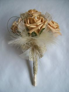 Dainty Antique Gold Rose Cream Pearl & Fluff Feather Vintage Bridal Posy Wedding Bouquet