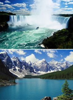 You just can't beat the Rockies in BC and Niagara Falls in Ontario.
