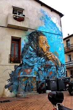 Wall paints, Muurschilderingen, Peintures Murales,Trompe-l'oeil, Graffiti, Murals, Street art.: Sète - France C215
