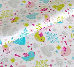 Coupon tissu coton oiseau, coeur, turquoise, rose et vert, 35cmx35cm