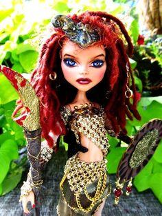 *OOAK Monster High Doll- Custom Warrior Doll - Cleo Makeover Dreadlocks Repaint | eBay