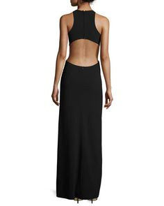 Sleeveless Crewneck Gown, Black/Chalk by Halston Heritage at Neiman Marcus.