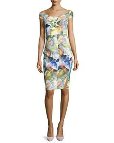Alizee Off-the-Shoulder Printed Sheath Dress by Black Halo at Neiman Marcus.