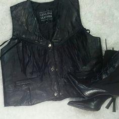 Black genuine leather vest Black leather vest with leather fringe Navarre leather company Jackets & Coats Vests