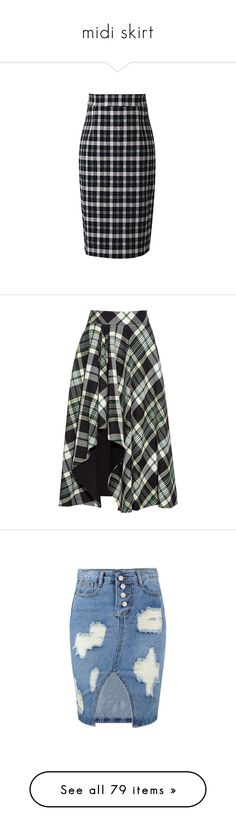 """midi skirt"" by morongo ❤ liked on Polyvore featuring skirts, beautifulhalo, bhalo, faldas, tartan skirt, zip back skirt, tartan plaid pencil skirt, blue skirt, knee length pencil skirt and green"