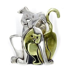 Dog And Cat Silver Brass Pin By Far Fetched