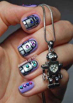 Dressed Up Nails - robot and rhinestone nail art