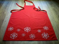 Items similar to Stencil Printed Snow Flake Apron on Etsy Stencil Printing, Snow Flake, Flakes, Tea Towels, Apron, Stencils, Printed, Kitchen, Etsy