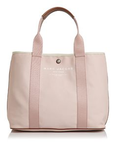Marc Jacobs East/west Canvas Tote In Pale Pink/silver Large Bags, Tote Handbags, Pale Pink, Marc Jacobs, Gym Bag, Zip, Canvas, Silver, Accessories