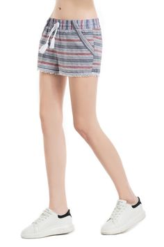 Knitbest Womens Adjustable Striped Hot Pants with Pockets  100% Cotton  Machine Wash-Cold (30° Max)  Model's profile: 175cm/68.90inch, Bust:82cm/32.28inch, Waist:60cm/23.62inch, Hip:89cm/35.04inch