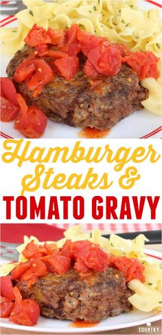Hamburger Steaks with Tomato Gravy recipe from The Country Cook - The Country Cook Recipes - Beef Soup Recipes, Hamburger Meat Recipes, Ground Beef Recipes, Cooking Recipes, Healthy Recipes, Easy Recipes, Hamburger Dishes, Herb Recipes, Meatloaf Recipes