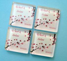 Cherry Blossom Wedding Favor Magnets  by StuckTogetherMagnets, $87.50