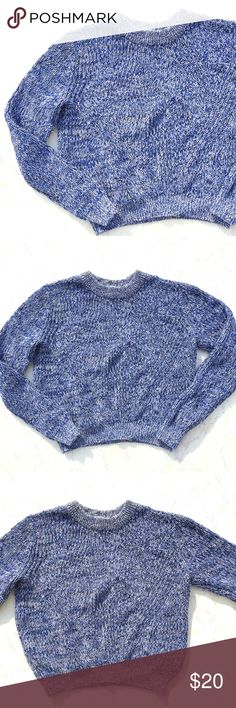 {H&M} Blue and White Chunky Cropped Sweater Pretty H&M blue and white knit long sleeve cropped chunky sweater! Size Small. H&M Sweaters