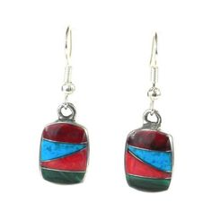 Beautiful Silver & Turquoise Mosaic Earrings Perfect Christmas gift!  Free shipping!  #Gift