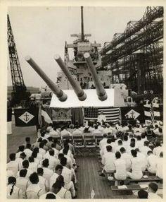Sunday service on battleship nc