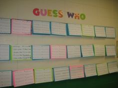 """Guess Who?"" Bulletin Board - great for the beginning of the school year"