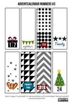 FREE printable Christmas Advent Calendar numbers (1-24)