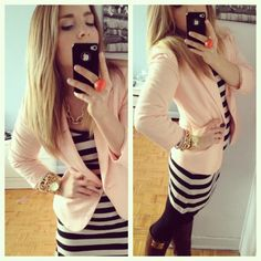 striped dress and light pink blazer with gold accessories . . . lovee loveee loveee!! <3