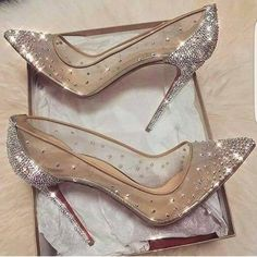 cinderella stiletto heels / glitter pumps / women's shoes from Louboutin Cute Shoes, Me Too Shoes, Fancy Shoes, Prom Heels, Sparkly Heels, Silver High Heels, Glitter Heels, Bling Heels, Glitter Bomb