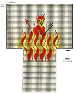Red Devil Socks Pattern #7257 chart