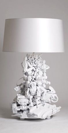 DIY Décor ● Table lamp made from toys and then spray painted