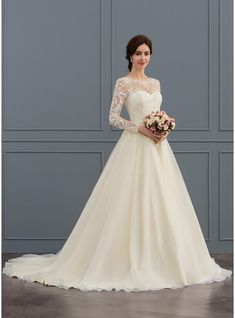 [ Ball-Gown/Princess Illusion Court Train Tulle Lace Wedding Dress With Beading Sequins Ball-Gown Scoop Neck Court Train Tulle Lace Wedding Dress With Beading Sequins Affordable Wedding Dresses, Wedding Dresses Plus Size, Wedding Party Dresses, Bridal Dresses, Party Wedding, Fall Dresses, Summer Dresses, Long Sleeve Wedding, Wedding Dress Sleeves