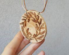 Long wood burned pine branch pendant handmade by SorrisoDesign