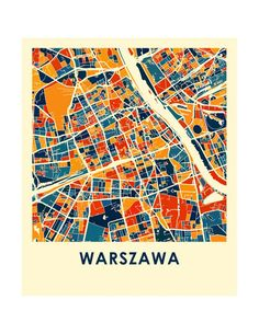 Warsaw Map Print - Full Color Map Poster Warsaw City, Travel Maps, Travel Posters, City Maps, Poster Prints, 1, Graphic Design, Abstract, Urban Design