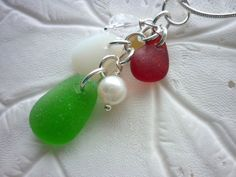 Red Sea Glass Necklace  Christmas Beach by TheMysticMermaid