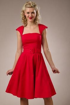 2c075bd83116 red swing dress with capped sleeves full skirt  142 Keyhole swing dress