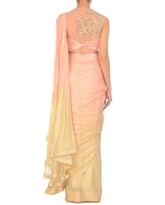 Ombre Baby Pink and Butter Cream Sari with Pleated Blouse - Saris - Apparel