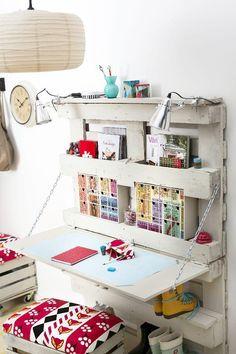 http://www.unelmientalojakoti.fi/tuunaus-ja-askartelu/tee-puulavasta-tyopiste Wood Pallet desk