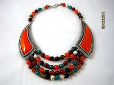 Multicolor Beads Necklace NEPAL / TIBET 18 inches Hand Crafted