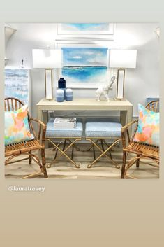 Im thrilled to be showcasing my art in the stunning Beckon Home shop, experts in Interior Design. My watercolors are in good company with Society Social console and x stools.