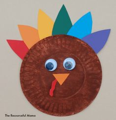 25 Easy Thanksgiving Crafts for Kids & Paper Plate Turkey Craft   Turkey craft Leaves and Craft