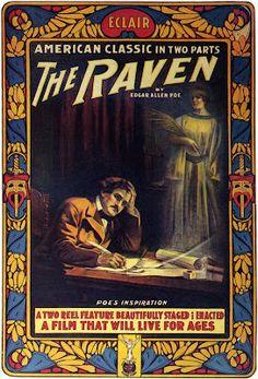 Vintage poster for the 1912 film The Raven based on Edgar Allan Poe's poem
