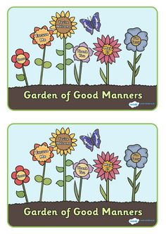 Twinkl Resources >> Garden Of Good Manners Display Posters 1  >> Thousands of printable primary teaching resources for EYFS, KS1, KS2 and beyond! good manners, education, home school, child development, children activities, free, kids, children behaviour, behaviour, children, behaviour management, behaviour garden, manners,