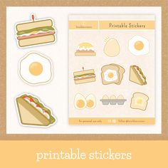 Show your love for breakfast food with these printable bullet journal stickers. Choose from a variety of egg and breakfast stickers that will surely add a beautiful aesthetic to your planner, bullet journal, or scrapbook. #egg #breakfast #stickers #printable #bulletjournal #aesthetic Food Stickers, Journal Stickers, Printable Planner Stickers, Printables, Bullet Journal Aesthetic, Bullet Journal Inspiration, Journal Ideas, Simple Doodles, Aesthetic Stickers