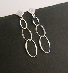 Oval infinity post earrings in sterling silver, long earrings, infinity, interlocking, entwined, oval earrings on Etsy, $28.00